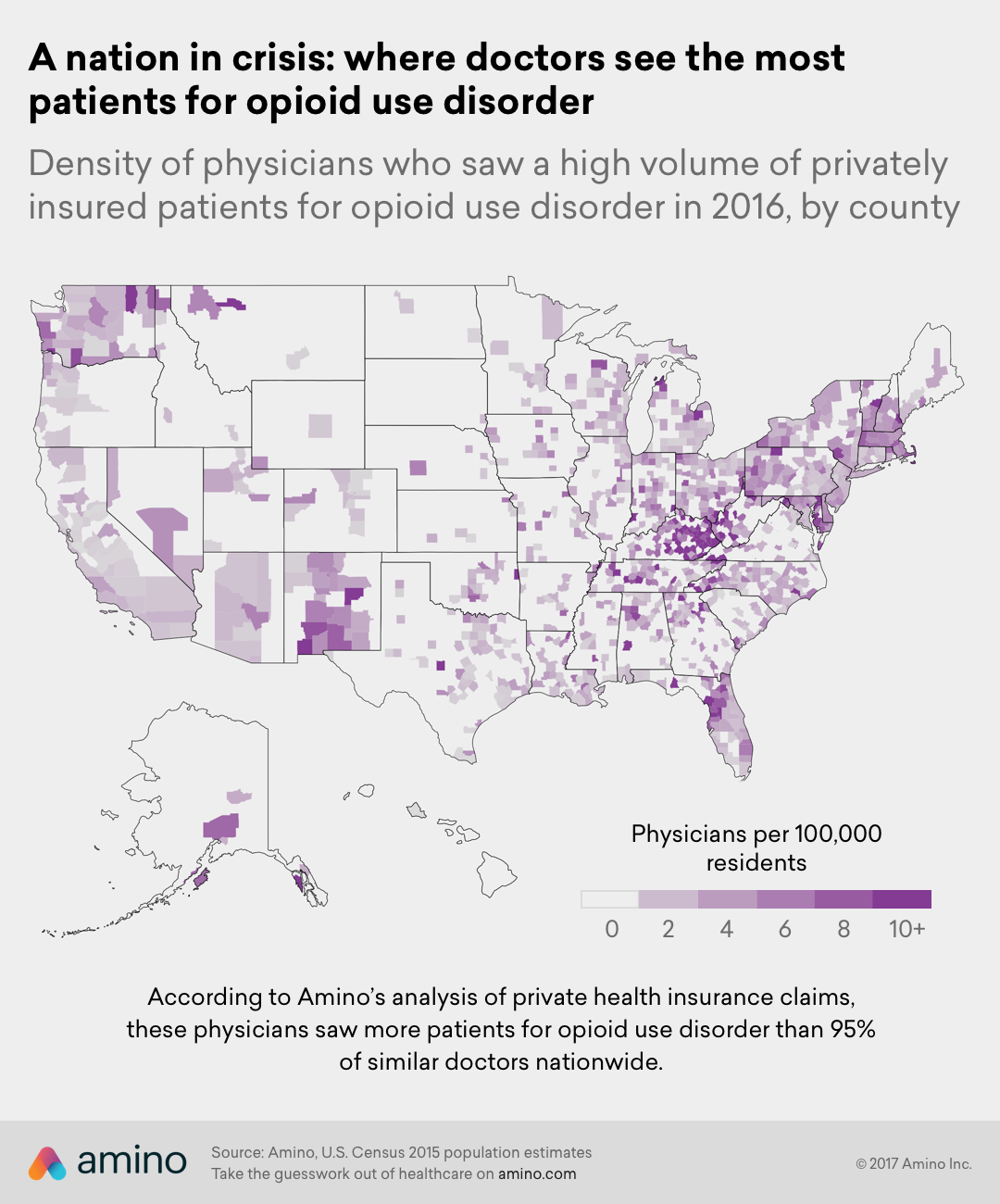 A nation in crisis: where doctors see the most patients for opioid use disorder