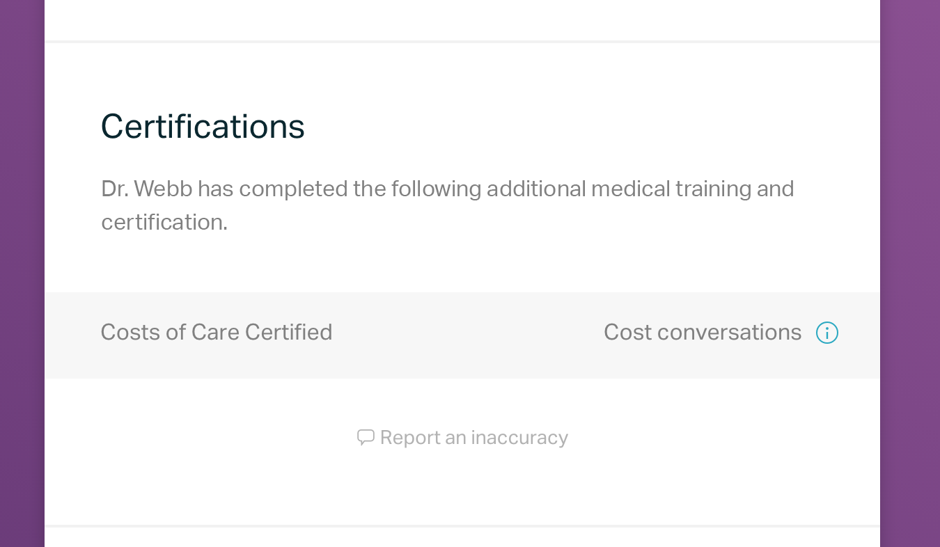 cost of care certification on amino